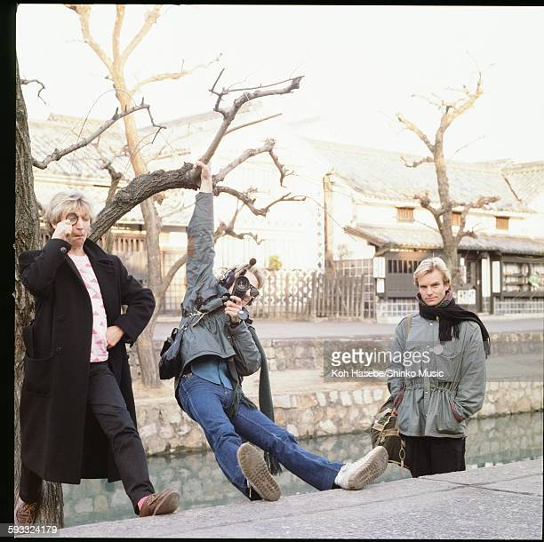 Police at photo session on Japan tour Police at kurashiki Okayama January 1981