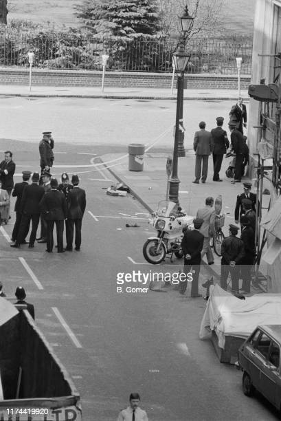 Police at the Charles II Street entrance to St James's Square after the fatal shooting of after Metropolitan Police officer WPC Yvonne Fletcher by an...