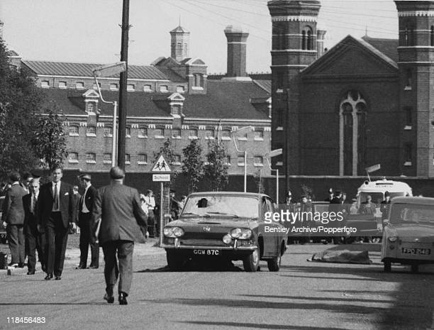Police at the crime scene in Braybrook Street near Wormwood Scrubs prison London shortly after police officers David Wombwell Christopher Head and...