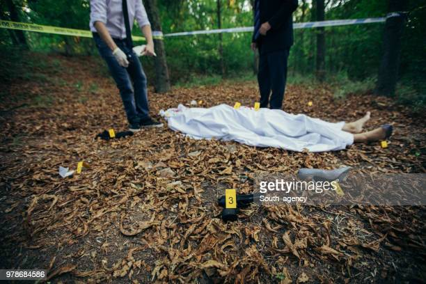 police at the crime scene - dead body stock pictures, royalty-free photos & images