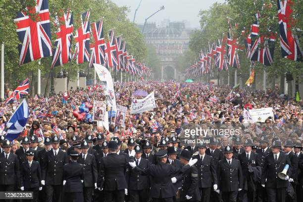 Police at the Mall as thousands of well-wishers from around the world have flocked to London to witness the Wedding of Prince William and Princess...