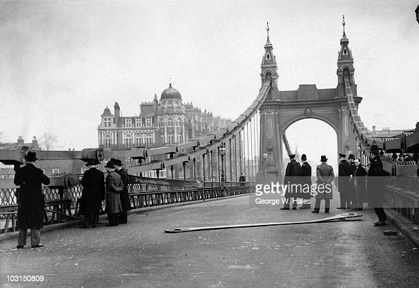 Police at the scene of an unsuccessful attempt by the Irish Republican Army to blow up Hammersmith Bridge in west London 29th March 1939 The attack...