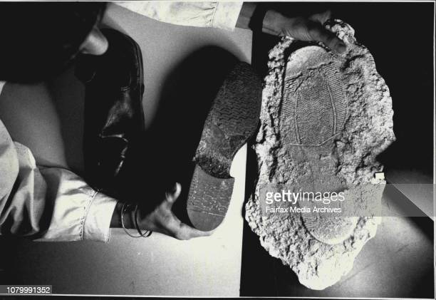 Police At Work In the Physical Evidence Section Plain clothes Const 1st class Catherine Smith comparing shoe soles from a plaster cast made from the...