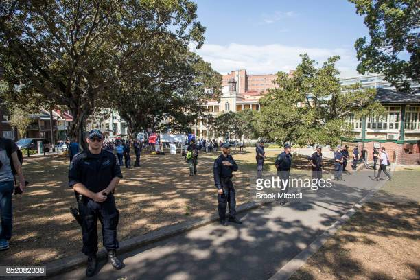 Police attend a rallies for and against same sex marriage on September 23 2017 in Sydney Australia The Party for Freedom's 'Straight Lives Matter'...