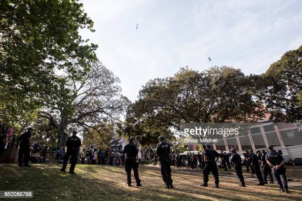 Police attend a rally in support of same sex marriage on September 23 2017 in Sydney Australia The Party for Freedom's 'Straight Lives Matter' rally...