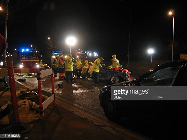 Police attend a road traffic accident