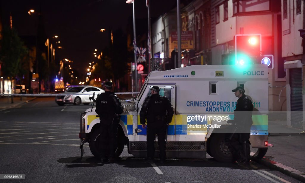 Police attend a suspect device left inside a car on the Newtownards road on July 11, 2018 in Belfast, Northern Ireland. Police have asked for calm after reports that the east Belfast faction of the UVF, a loyalist paramilitary force planned to create serious public disorder. Tensions have mounted ahead of the annual 12th of July marches and demonstrations following the removal of serveral bonfires by the authorities due to health and safety.