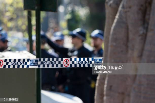 Police attend at a homicide on August 10 2018 in Sydney Australia A man was found dead in the street near the intersection of Hereford Street and...