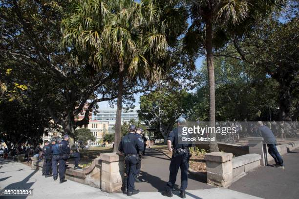 Police attend at a park in Darlinghurst where two opposing rallies for and against same sex marriage took place on September 23 2017 in Sydney...