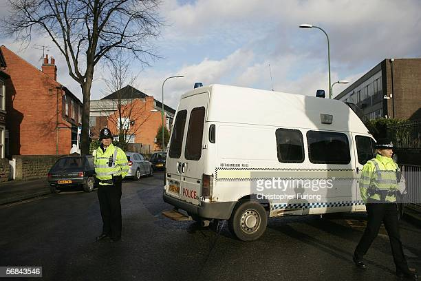 Police attend the scene of a burglary which resulted in a woman police officer being shot and seriously injured on February 14 Nottingham, England....