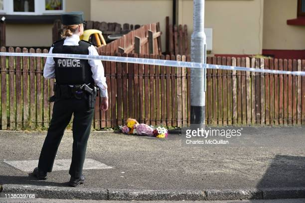 Police attend the scene of a shooting in which journalist Lyra McKee was killed on Fanad Drive on April 19 2019 in Londonderry Northern Ireland...