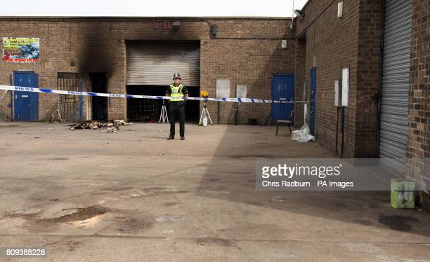 Police attend the scene of an explosion at the Broadfield Lane industrial estate in Boston Lincolnshire