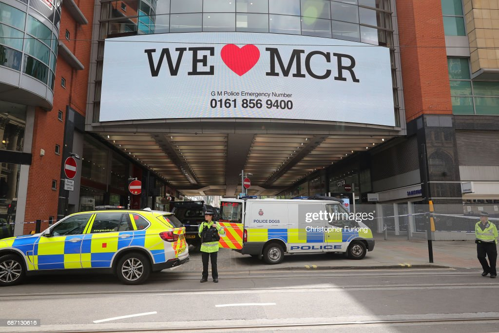 Police avacuate the Arndale Centre on May 23, 2017 in Manchester, England. An explosion occurred at Manchester Arena as concert goers were leaving the venue after Ariana Grande had performed. Greater Manchester Police are treating the explosion as a terrorist attack and have confirmed 22 fatalities and 59 injured.