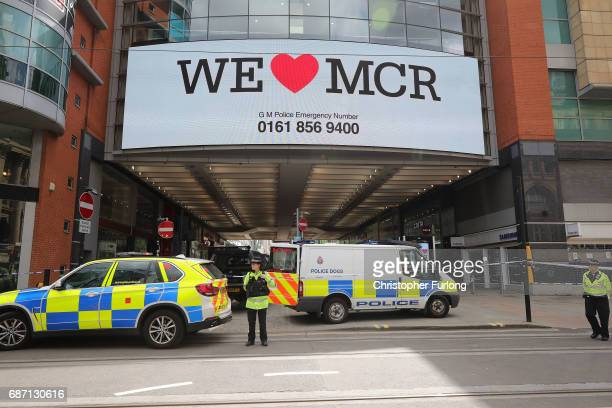 Police avacuate the Arndale Centre on May 23 2017 in Manchester England An explosion occurred at Manchester Arena as concert goers were leaving the...