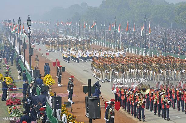 Police band and contingent marching during the 65th Republic Day parade at Rajpath on January 26 2014 in New Delhi India India adopted its democratic...