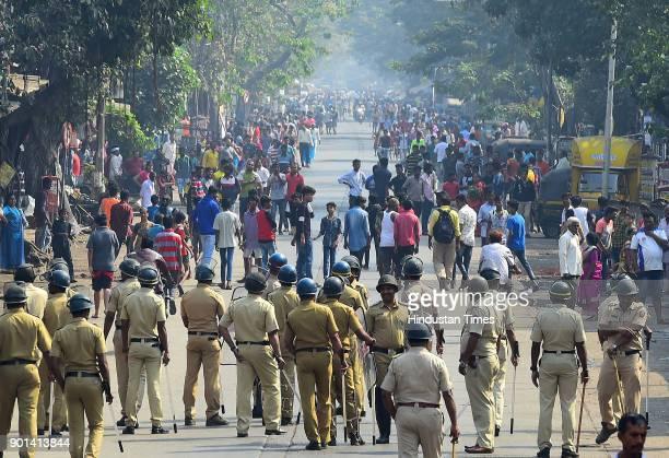 Police bandobast during Maharashtra Bandh at Amar Mahal Junction Chambur as Dalit community protest and demand arrested of Sambhaji Bhide and Milind...