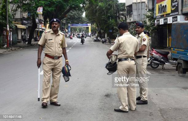 Police bandobast on Bajirao road on Maharashtra Bandh for Maratha reservation on August 9 2018 in Pune India Quotas for Marathas a politically...