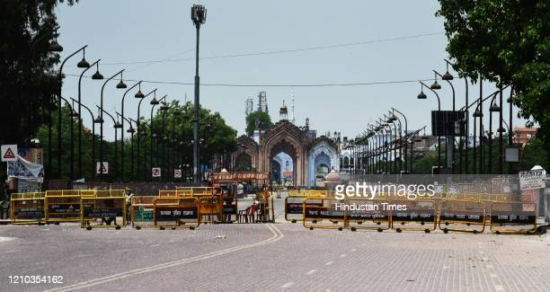Police barricades seen outside Hussainabad Gate during the lockdown, on April 18, 2020 in Lucknow, India.