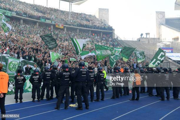Police before the fans of Werder Bremen during the game between Hertha BSC and Werder Bremen on september 10 2017 in Berlin Germany