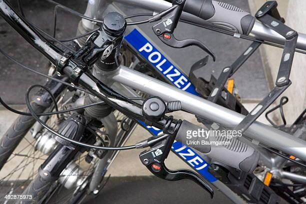 Police bikes of the Bonn police with the inscription police on May 21 2014 in Bonn Germany