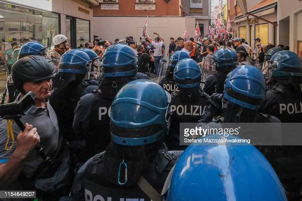 Police block access to Piazza San Marco on June 08 2019 in Venice Italy Following the incident of the cruise ship Opera of the company MSC which...