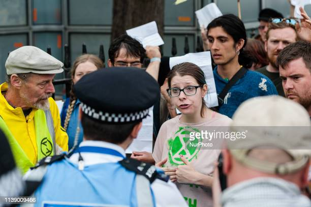 Police block access to the House of Commons as Extinction Rebellion activists try to deliver letters to their MPs asking them to take ation on...