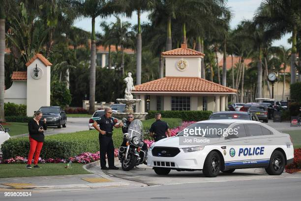Police block off the entrance to the Trump National Doral Miami resort on May 18 2018 in Doral Florida Law enforcement officials said that a man...