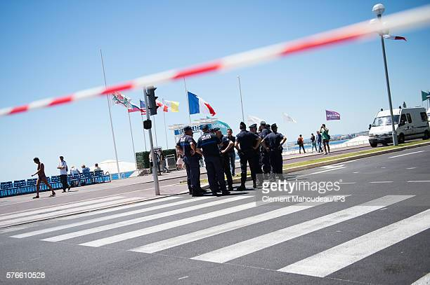 Police block on La Promenade des Anglais' seafront on July 16 2016 in Nice France A FrenchTunisian attacker killed 84 people as he drove a lorry...