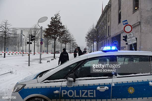 Police block the area around the Chancellery in Berlin on January 6 as a suspicious mail was found The German cabinet is to hold it's weekly meeting...