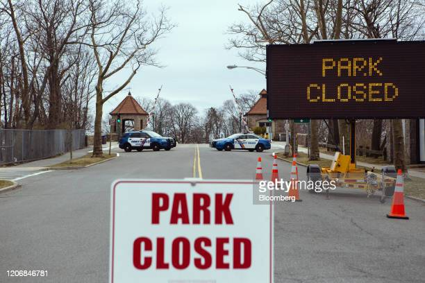 Police block the entrance to Glen Island Park in New Rochelle New York US on Thursday March 12 2020 Members of the National Guard have arrived in New...
