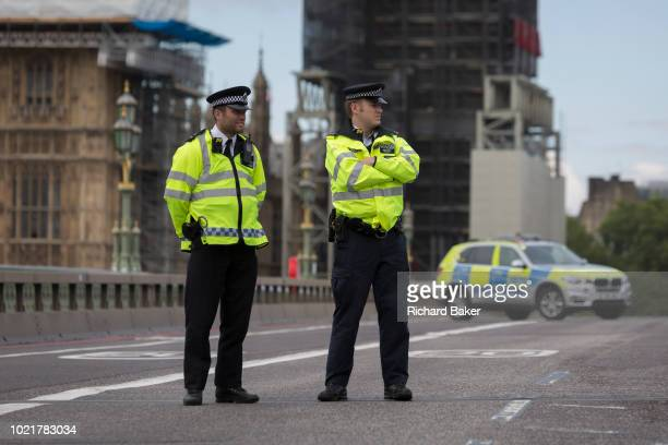 Police block Westminster Bridge as Westminster experiences a lockdown with extensive cordons and the closure of many streets after what police are...