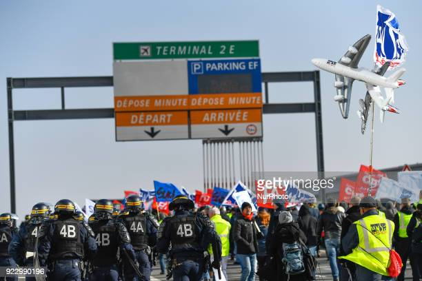 Police blocked Air France unions march in Charle de Gaule airport during an unauthorized demonstration outside Charles de Gaulle airport in Roissy on...