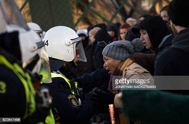 Police blocks counterprotesters demonstrating against the neonazi Nordic Resistance Movement taht held a protest rally =in central Stockholm on...