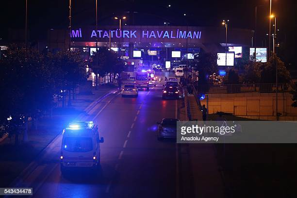 Police blocks the entrance of the Ataturk International Airport after an explosion in Istanbul Turkey on June 28 2016 Unspecified number of injured...