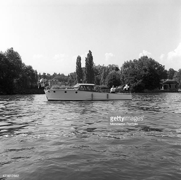 'A police boat patrolling the Lake Geneva during the Geneva Summit discussing issues about security German reunification and disarmament Geneva 18th...