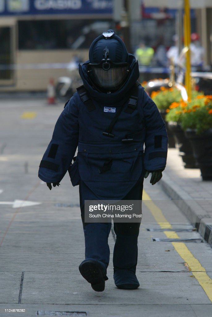 Police bomb disposal unit in action at Canton road after a