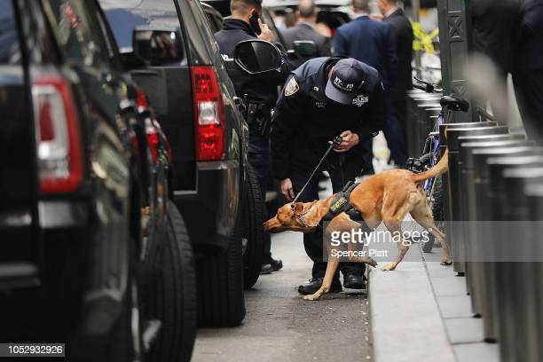 Police bomb sniffing dog is deployed outside of the Time Warner Center after an explosive device was found this morning on October 24 2018 in New...
