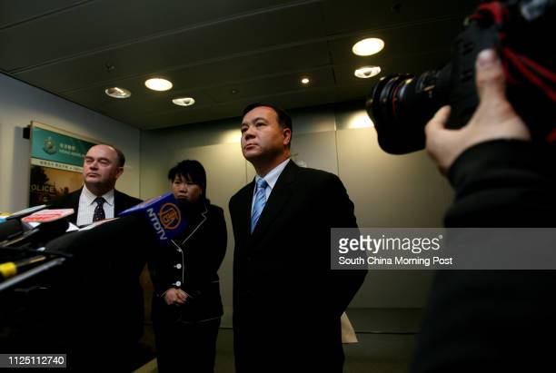 Police briefing on Edison Chen nude photos at Wanchai Police HQ Pictured is Ian McWalters Deputy Director of Public Prosecution Anthea Pang Senior...