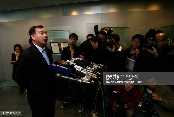 Police briefing on Edison Chen nude photos at Wanchai Police HQ Pictured speaking to press is Vincent Wong Fookchuen Assistant Commissioner of Police...