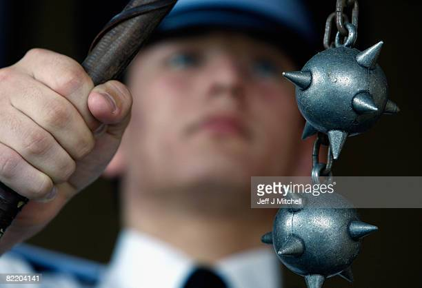 Police Cadet Fraser Reid holds a dangerous weapon which has been seized as part of Strathclyde Police campaign against violence August 7 2008 in...