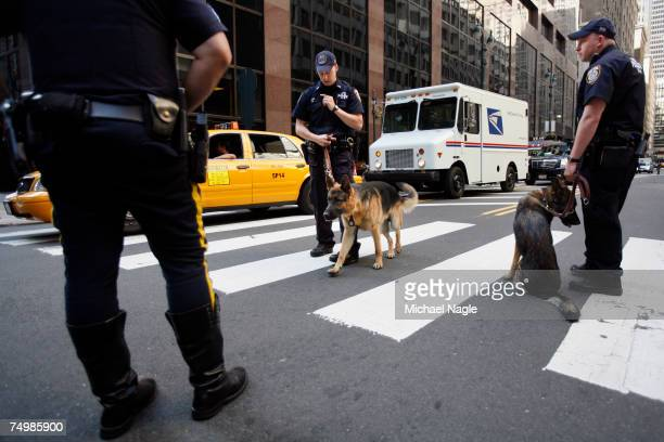 Police Canine Officers check vehicles at a checkpoint at Grand Central Station on Vanderbilt Ave on July 2, 2007 in New York City. New York City has...