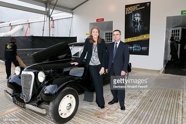Police captain Marie Deniau and head of Paris Judicial Police Christian Flaesch pose as they attends the 100th Anniversary of The Paris Judiciary...