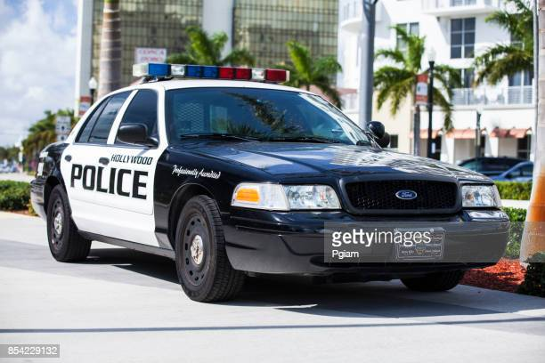 Police car and sirens parked in Miami Florida USA