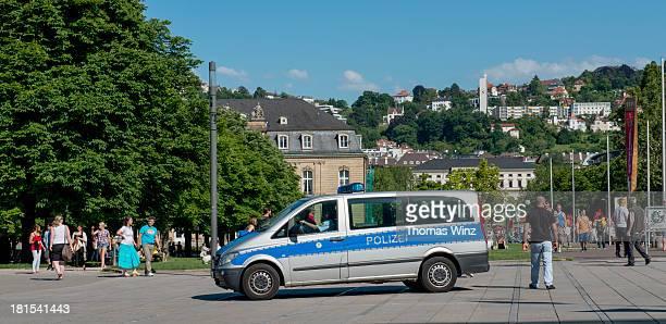 Police car at Schlossplatz square