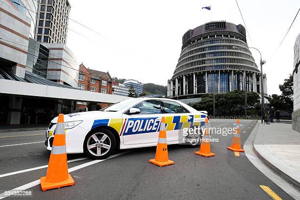 A police car blocks Bowen Street following an incident at Parliament on May 26 2016 in Wellington New Zealand Police have blocked off the...