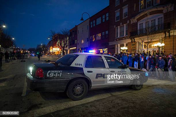 A police car blocks the road outside of the Flynn Center for the Performing Arts where Republican presidential frontrunner Donald Trump is hosting an...
