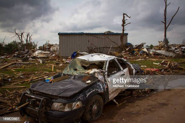 Police car from Del City, Oklahoma is destroyed by the tornado that hit Moore, Oklahoma on May 20, 2013.