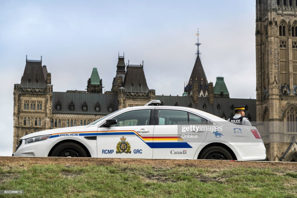 RCMP Police Car in front of Canadian Parliament, Ottawa : Stock Photo