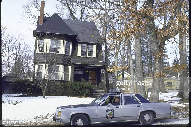 Police car in front of prob the home of teacher / astronaut Christa McAuliffe after her death in the Space Shuttle Challenger accident