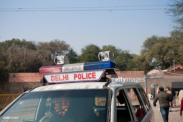 police car in new delhi, india - police force stock pictures, royalty-free photos & images